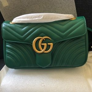 BRAND NEW GUCCI SMALL MARMONT FLAP N EMERALD GREEN